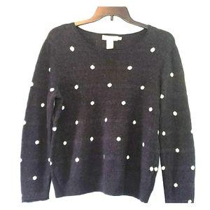 L.O.G.G., charcoal grey, polka dot sweater, EUC